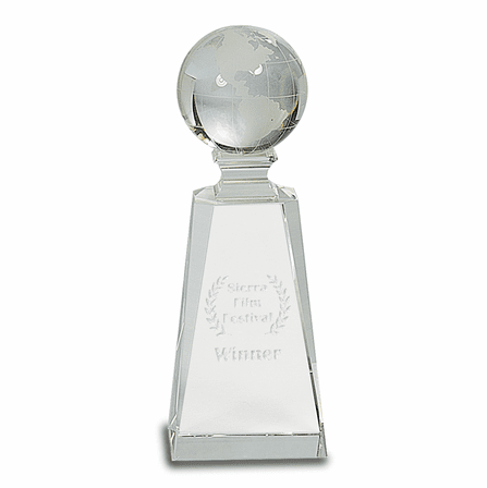 Personalized Crystal Globe On Tapered Crystal Pedestal