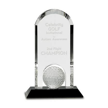 Personalized Crystal Golf Ball Desk Award