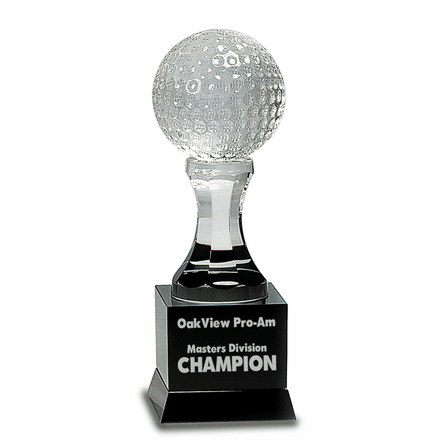 Personalized Crystal Golf Ball With Black Pedestal