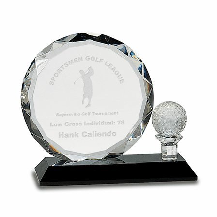 Personalized Crystal Golf Ball With Crystal Plaque