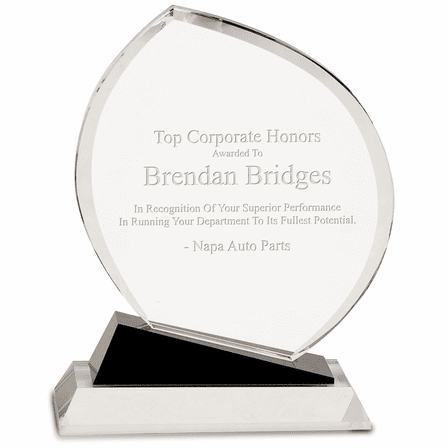 Personalized Crystal Oblong  Recogntion Award With Black Base
