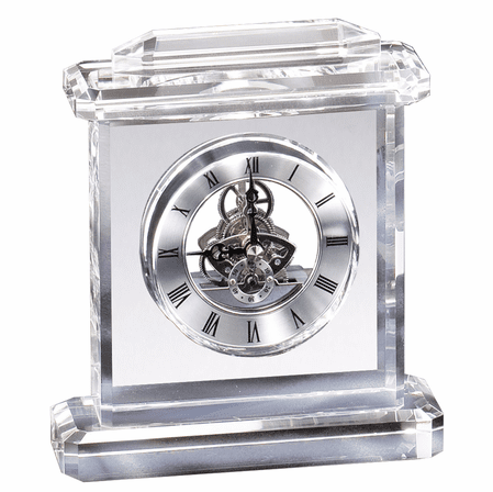 Personalized Crystal Quartz Clock With Framed Top & Base