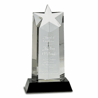 Personalized Crystal Star Recognition Award with Black Crystal Base