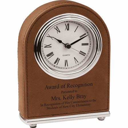 Personalized Dark Brown Arch Style Desk Clock