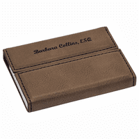 Personalized Dark Brown Business Card Case