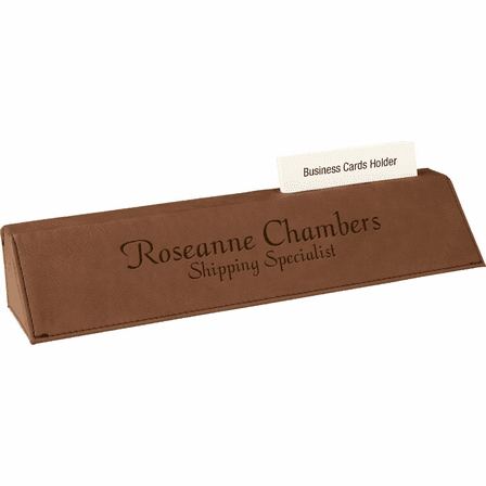 Personalized Dark Brown Desk Wedge with Business Card Holder