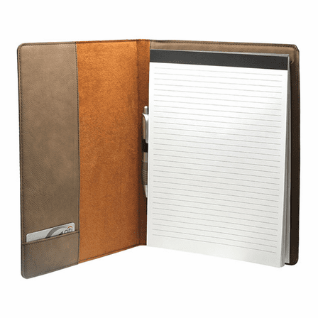 Personalized Dark Brown Leatherette Portfolio