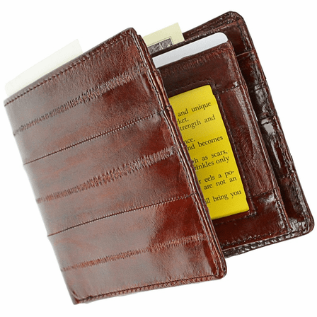 Personalized Eel Skin Bifold Wallet With Double ID Flap