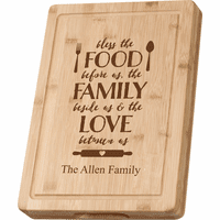 Personalized Food Family Love Grooved Bamboo Cutting Board