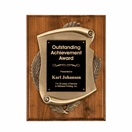 Personalized Genuine Walnut Plaque With Metal Scroll Frame - Discontinued