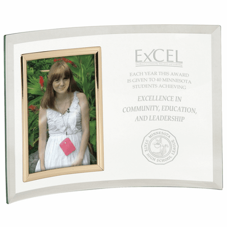Personalized Glass Crescent With Vertical Photo Frame