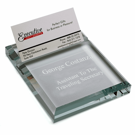 Personalized Glass Desk Business Card Holder & Paperweight