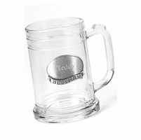 Personalized Glass Mug with Pewter Medallion