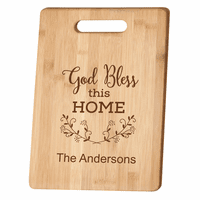 Personalized God Bless This Home Bamboo Cutting Board