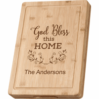 Personalized God Bless This Home Grooved Bamboo Cutting Board