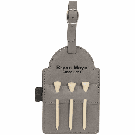 Personalized Gray Golf Bag Tag with Tees