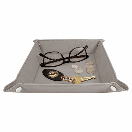 Personalized Gray Men's Valet Tray with Folding Snaps