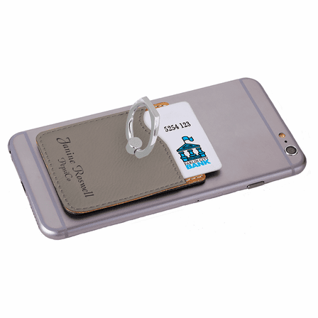 Personalized Gray Phone Wallet with Ring