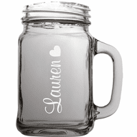 Personalized Heart Theme 22 Ounce Mason Jar