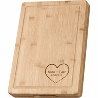 Personalized Heart Theme Grooved Bamboo Cutting Board