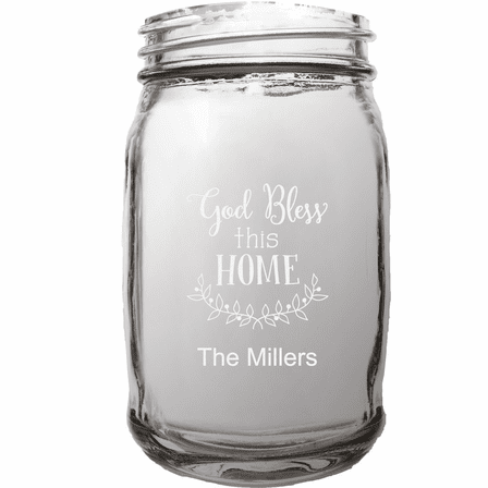 Personalized Home Theme 16 Ounce Mason Jar