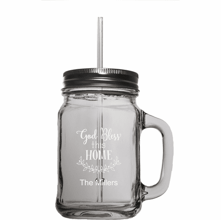 Personalized Home Theme 16 Ounce Mason Jar W/ Straw