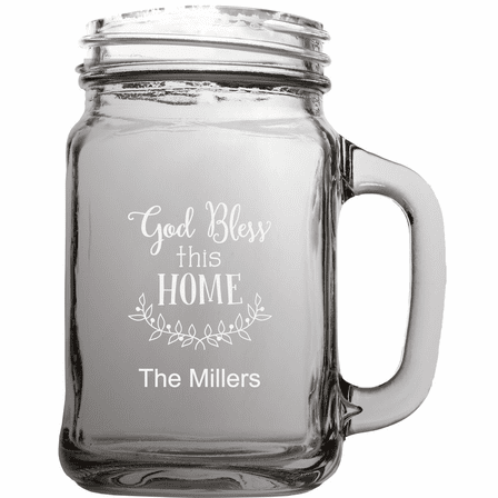 Personalized Home Theme 22 Ounce Mason Jar