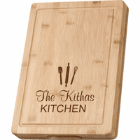 Personalized Kitchen Theme Grooved Bamboo Cutting Board