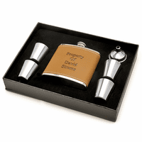 Personalized Leather Flask & Shot Cups Gift Set