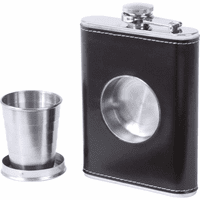Personalized Leather Flask With Built In Shot Cup