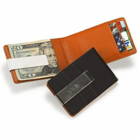 Personalized Leather Wallet with Money Clip