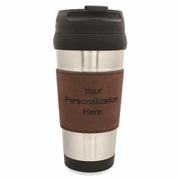 Personalized Leatherette Grip Travel Coffee Mug - Dark Brown