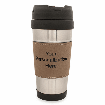 Personalized Leatherette Grip Travel Coffee Mug - Light Brown