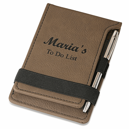 Personalized Leatherette Notepad & Pen