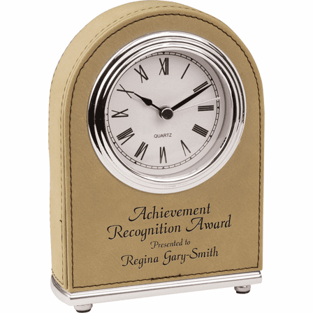Personalized Light Brown Arch Style Desk Clock