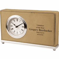 Personalized Light Brown Horizontal Desk Clock