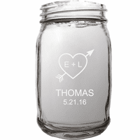 Personalized Love Theme 16 Ounce Mason Jar