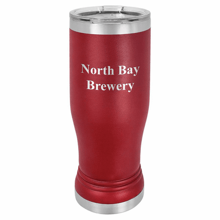 Personalized Maroon Polar Camel Stainless Steel Pilsner Glass