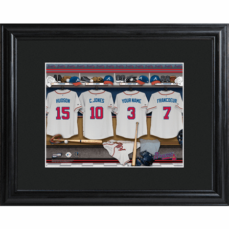 Personalized MLB Locker Room Print with Wood Frame