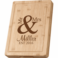 Personalized Mr. & Mrs. Grooved Bamboo Cutting Board