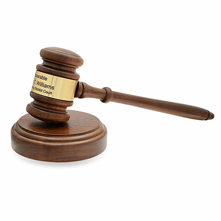 Personalized Oak Finish Wooden Gavel With Gold Band & Sounding Board