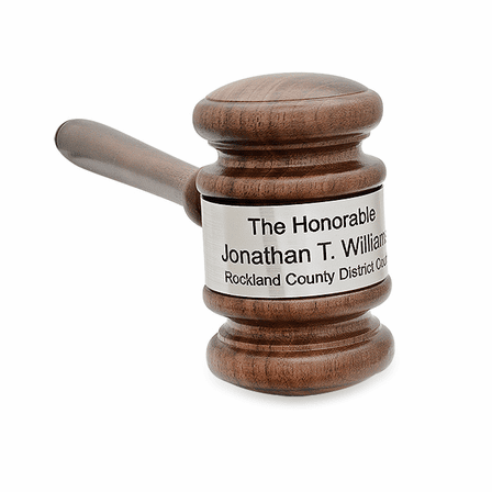 Personalized Oak Finish Wooden Gavel With Silver Band & Sounding Board