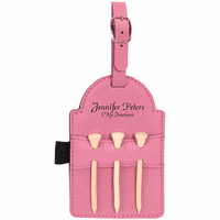 Personalized Pink Golf Bag Tag with Tees
