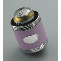 Personalized Pink Leather with Silver Trim Can Holder