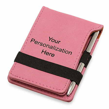 Personalized Pink Leatherette Notepad & Pen