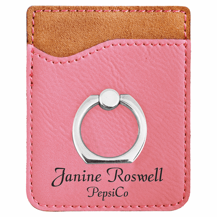 Personalized Pink Phone Wallet with Ring