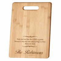 Personalized Psalms 34:8 Bamboo Cutting Board