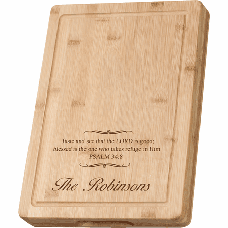 Personalized Psalms 34:8 Grooved Bamboo Cutting Board