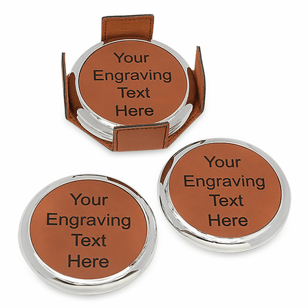 Personalized Rawhide And Silver Round Coaster Set