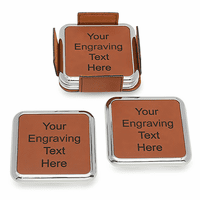 Personalized Rawhide And Silver Square Coaster Set